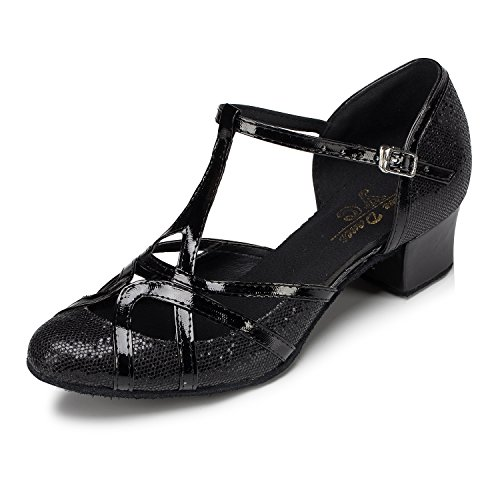 Ballroom Dance Toe Womens Professional Material Shoes PU Black Morden Glitter CRC T Leather Tango Strap Salsa Round H4xqwzqRA
