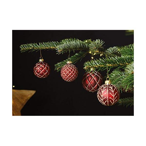 MC, set di 12 palle di Natale in vetro, Ø 6 cm, palle per albero di Natale, decorazione natalizia, Vetro, Oro rosso, Ø 6cm 2 spesavip