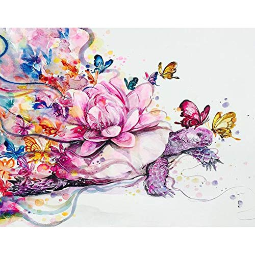 DIY 5D Diamond Painting by Number Kits, Crystal Rhinestone Diamond Embroidery Paintings Pictures Arts Craft for Home Wall Decor, Full Drill, Flower Butterfly Tortoise Sea Turtle (J5109-11.8X15.7in) ()