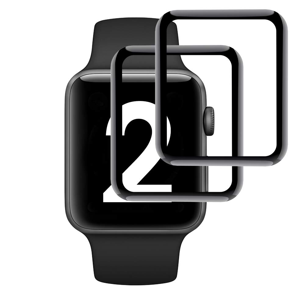 Simpeak 2-Pack Compatible for Apple Watch Screen Protector 38mm, [3D Full Coverage][Bubble Free] [Anti-Scratch] [Anti-Fingerprint] Tempered Glass Screen Protector for iWatch 38, Black by Simpeak