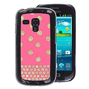 A-type Arte & diseño plástico duro Fundas Cover Cubre Hard Case Cover para Samsung Galaxy S3 MINI 8190 (NOT S3) (Polka Dot Gold Pink Glitter Yellow Pattern)