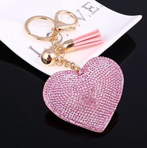 - 1 Pc Mini Pocket Romantic Heart Keychain Keyring Keyfob Crystal Pendant Keys Chains Rings Tags Strap Wrist Super Popular Cute Wristlet Utility Keyrings Tool Teenagers Teen Women Girls Gift, Type-08