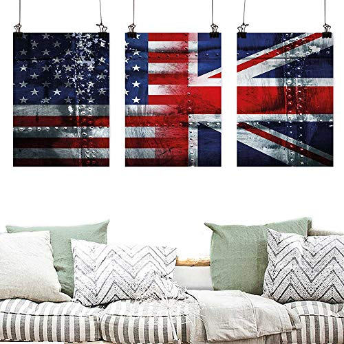 Agoza Pattern Oil Painting Art Union Jack Alliance Togetherness Theme Composition of UK and USA Flags Vintage Painting Home Decor Prints Posters 3 Panels 24x47inchx3pcs Navy Blue Red White