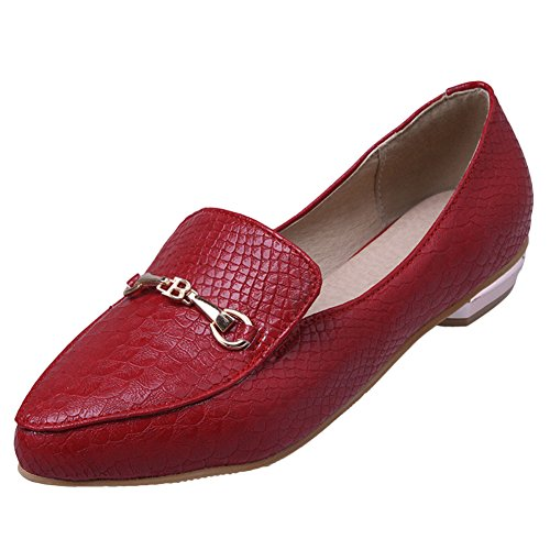 Loafers Toe Heel Women's Show Red Pumps Shine Low Slide Point Shoes Ow8awq