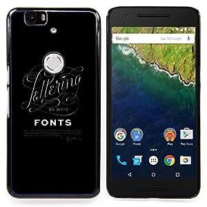 """For Huawei Google Nexus 6P Case , Fuentes de la caligrafía Cartas Negro Posters"""" - Diseño Patrón Teléfono Caso Cubierta Case Bumper Duro Protección Case Cover Funda"""