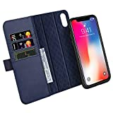 iPhone XS Case, iPhone X Case ZOVER Detachable Genuine Leather Wallet Case With Auto Sleep/Wake Function Support Wireless Charging Magnetic Car Mount Holder Kickstand Feature Magnetic Closure Gift Box