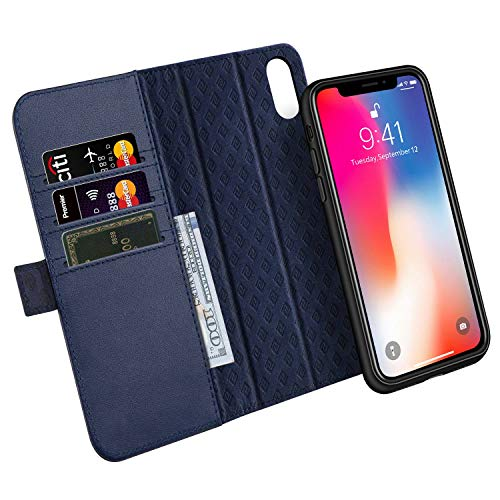 Zover Compatible with iPhone Xs/X Case Detachable Genuine Leather Wallet Case Support Wireless Charging Magnetic Car Mount Holder RFID Blocking Kickstand Feature Magnetic Closure Gift Box Navy Blue