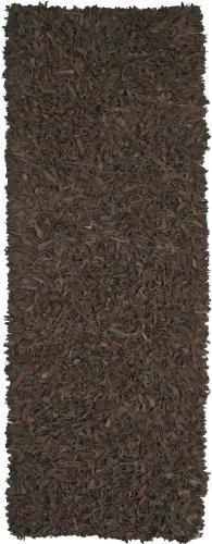 Dark Brown Leather Shag 2.5'x8' Rug - Pelle Leather Brown Rug