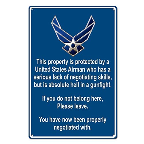 Property Protected by Airman U.S. Air Force Funny Tin Sign Metal Sign Metal Decor Wall Sign Wall Poster Wall Decor Door Plaque TIN Sign 7.8X11.8 - Air Sign Force