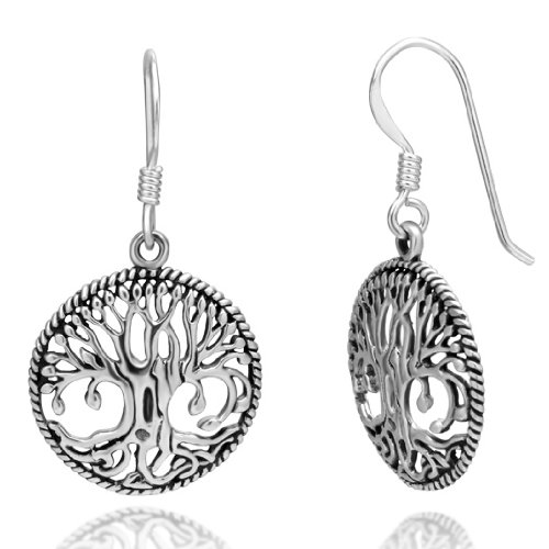 925 Sterling Silver Detailed Celtic Tree of Life Round Dangle Hook Earrings - The World Tree