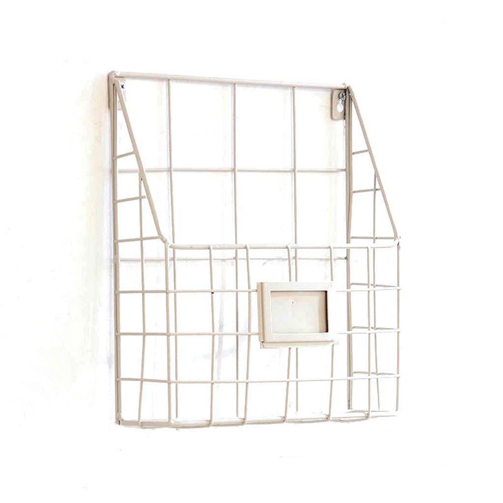 Creative Wall Magazine Rack Simple Living Room Newspaper Rack Iron Storage Rack (Color : White, Size : 35.5cm/14.0inch)
