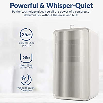 .com - Hathaspace Portable Home Dehumidifier with Drain Hose & Pre-Filter, 68oz Water Tank, Removes Moisture & Humidity (25oz/Day) - Bathroom, Basement, Bedroom, Closet, Crawl Space, Garage, Laundry, RV -