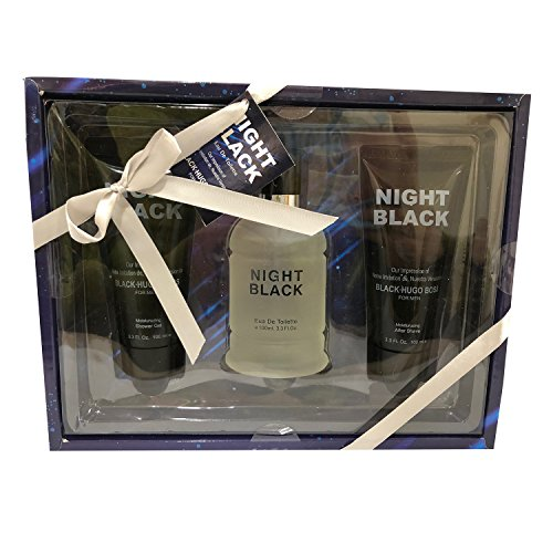 Boss Gel Cologne (NIGHT BLACK, Our Version of HUGO BOSS BLACK for Men, 3 Piece Gift Set (3.3 fl.oz.Eau de Toilette Spray, 3.3 fl.oz.Shower Gel, 3.3 fl.oz.After Shave))