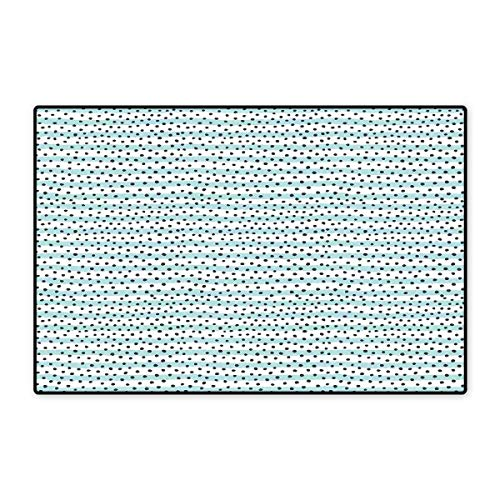 Grey Blue Door Mat Outside Pastel Colored Stripes with Dots Hand Drawn Geometric Pattern Floor Mat Pattern 32