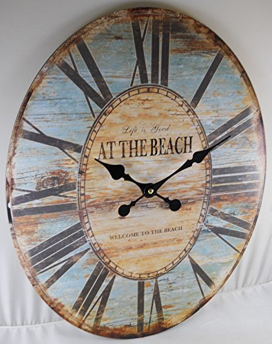 Oval-Wall-Clock-LIFE-IS-GOOD-WELCOME-TO-THE-BEACH