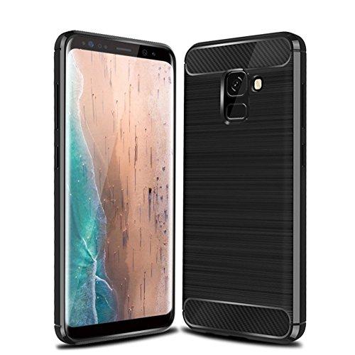 Funda Samsung A8 Plus 2018,Funda Fibra de carbono Alta Calidad Anti-Rasguño y Resistente Huellas Dactilares Totalmente Protectora Caso de Cuero Cover Case Adecuado para el Samsung A8 Plus 2018 A