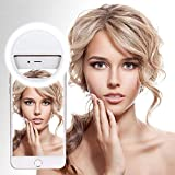Zibet Selfie Ring Light with 36 LEDs,3 Level Brightness Clip on Rechargeable Selfie Light Flash Lamp Compatible with iPhone Xs Max XR X 8 7 Plus Galaxy S9 S8 Plus Note 9 8 and More (White)