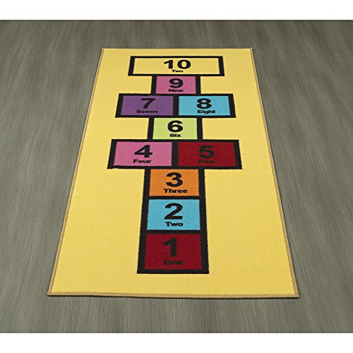 "Ottomanson Children's Garden Collection Educational Hopscotch Design, 2'7"" X 6'0"", Yellow from Ottomanson"
