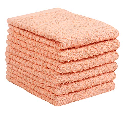 - Glamburg 6 Pack Terry Kitchen Washcloth Dish Towels, Tea Towels 12x12 Peach, 100% Cotton Dish Towels and Dish Cloths, Bar Towels, Tea Towels, Bar Mop Dish Cloths, Cleaning Towels and Dishcloths Sets