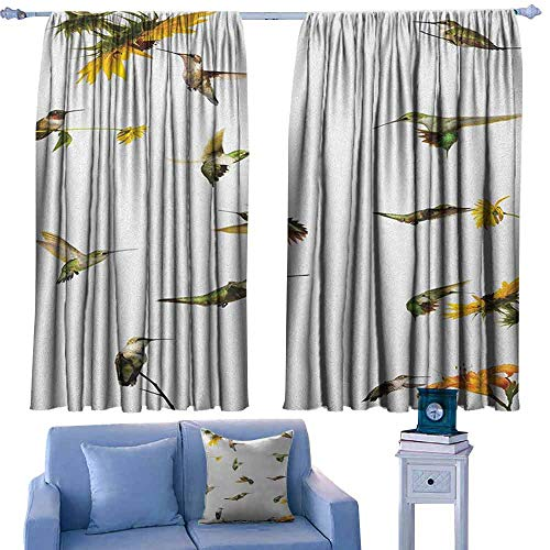 ParadiseDecor Hummingbirds Indoor Curtain Collection of Hummingbirds in Motion and at Rest Sunflowers Summer Fun,Decor Room Darkening IDE Curtains,W52 x L63 Inch