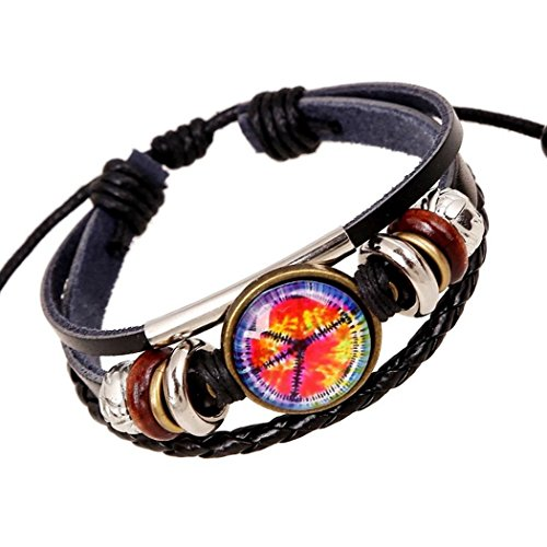 Victoria Echo Handmade Jewelry Wowen Leather Beaded Wrap Bracelet with Peace Sign Charms (Homemade Firefighter Costume)