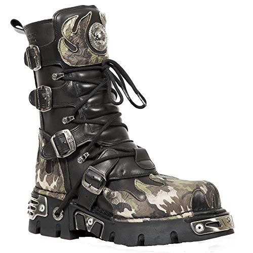 Noir 591 s15 De Cuir Rock Goth Boot Camouflage Metallic Flamme New Biker 1SA0qwn