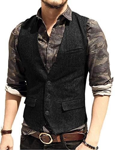TBB Mens Suit Vest Formal Slim Fit Wool Herringbone Business Waistcoat for Groom Wedding ()