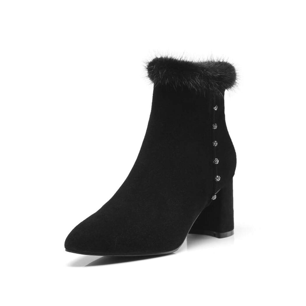 Zxcer Damen-Reißverschluss-Ankle Stiefelies - Komfortabler geschlossener Schuh - - - Niedriger Absatz Bequeme Laufstiefeletten Schuhgröße  34-39 7da0be