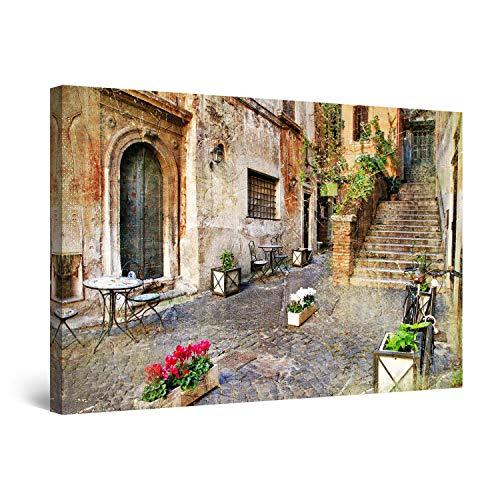 STARTONIGHT Canvas Wall Art - Italian City Decor, Framed 32 x 48 Inches