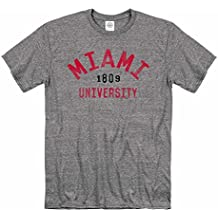 Campus Colors Miami Redhawks Adult NCAA Arched Basic Heathered T-Shirt - Sport Gray,