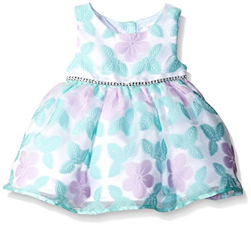 Youngland Baby Girls' Butterfly Organza Occasion Dress, Aqua/Lilac/White, 6-9 Months (Aqua Floral Dress)