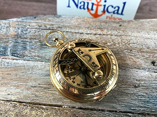 Brass Sundial Compass - Necklace Pendant - Old Vintage Antique Pocket Style for Home Decor Collection