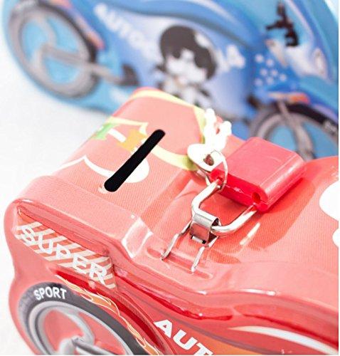 Sun Glower Bancos de Dinero Emocionante Motocicleta alcanc/ía Incre/íble Tarro de Dulce de hojalata con Cerradura Rojo