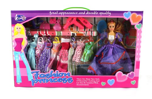 Deluxe Fashion Princess Toy Doll Playset, Comes w/ Doll, Variety of Unique Dresses, Beauty/Make Up Accessories