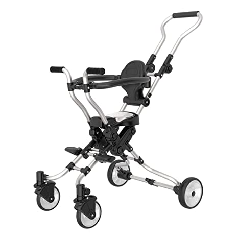 Carro de los niños, ligero plegable triciclo de cinco ruedas bebé con sistema de seguridad