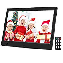 Beschoi Digital Picture Frame 10.1 inch Electronic Digital Photo Frame IPS 16:9 1024x600 Display with Motion Sensor 1080P 720P Video Player Stereo/MP3/Calendar/Time