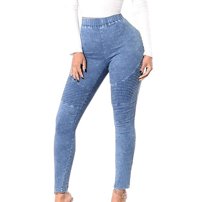 105160cf0462 Donna Pantaloni A Matita, Allungare Stretto Piega Jeans Tinta Unita A Vita  Alta Slim Pantaloni