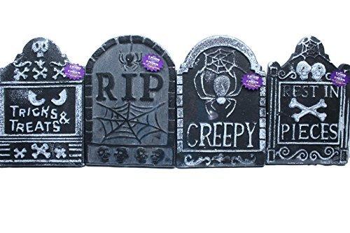 10 1/4 x 15 Tombstones Halloween Graveyard Polyfoam Decoration RIP Set of 4 by -