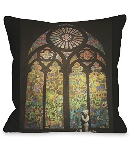 One Bella Casa Stained Glass Graffiti Throw Pillow by Banksy, 16