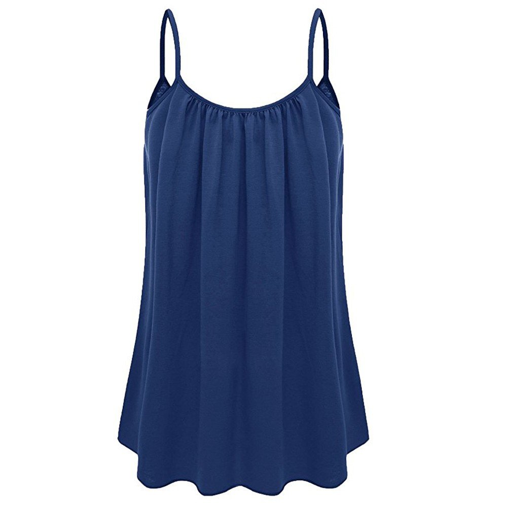 UOKNICE Summer Women Loose Swing Camisole Solid Color Crew Neck Tank Tops Plus Size