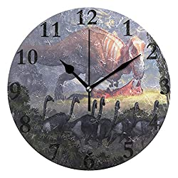 NMCEO Wall Clock Dinosaurs Tree Round Hanging Clock Acrylic Battery Operated Wall Clocks for Home Decor Creative
