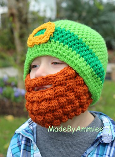 Crochet St Patrick's Day Mens Ginger Beard Leprechaun St Patrick's Day Beanie -