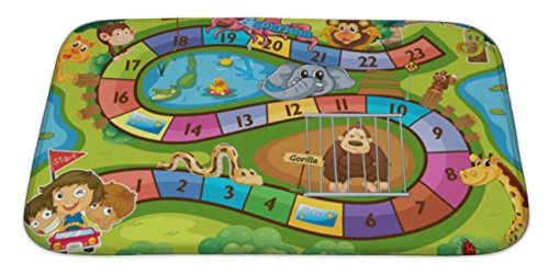 Lawn Clipart (Gear New Bath Mat For Bathroom, Memory Foam Non Slip, Illustration Of A Board Game With Zoo, 34x21, 5258635GN)