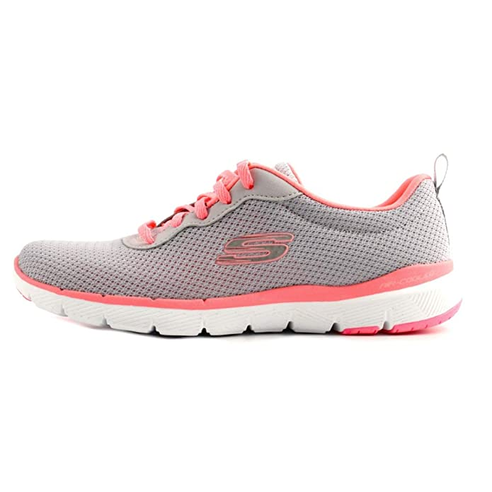Skechers Flex Appeal 3.0 Sneakers Damen Grau/Rosa