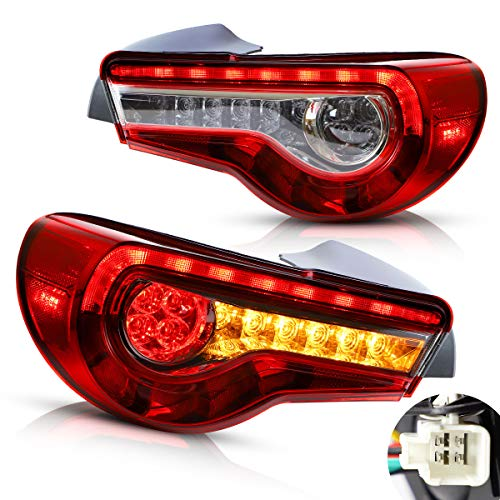YUANZHENG Full LED Tail Lights Compatible with[GT86 2012-2019, BRZ 2013-2018, FRS 2012-2016 Coupe, Rear Brake Lamps Assembly with Sequential Turn Signal YAB-86-0287H, Red Clear, Pair 2PCS