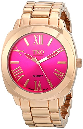 TKO ORLOGI Women's Big Pink Face Rose Gold Boyfriend Oversized Watch (Oversized Runway Watch)