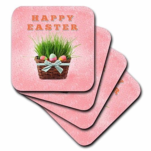 3dRose cst_174076_2 Three Easter Eggs in Basket of Grass, Happy Easter-Soft Coasters, Set of 8 (Happy Easter Basket)