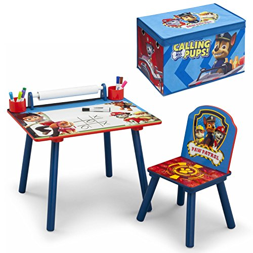 Nickelodeon Paw Patrol Art Desk Table and Chair Set with Fabric Toy Box Playroom, Bundle (Homemade Mexican Costume)