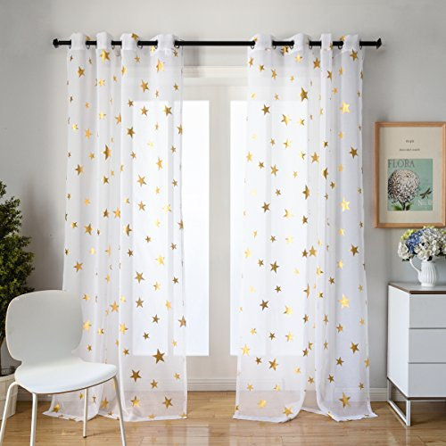 Kotile Girls Bedroom Curtain for Starry Night Twinkle Voile Sheer Curtains, 2 Panels Grommet Top Gold Star Print Glitter Curtain Panels Draperies Perfect for Kids/Nursery, W52 x L84 Inches (Top Glitter Print)