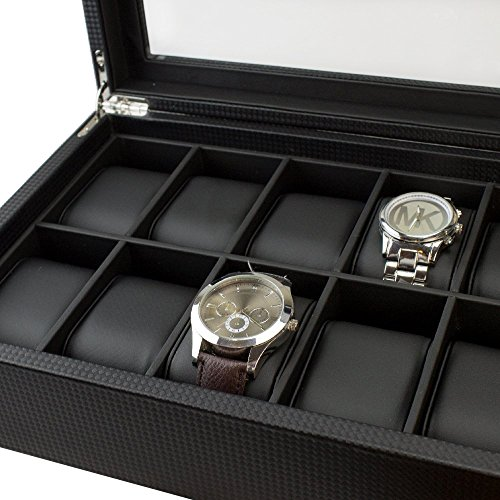 amazon com watch box for men 12 slot luxury carbon fiber design amazon com watch box for men 12 slot luxury carbon fiber design display case large holder metal buckle black home kitchen